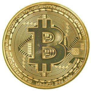 Monedă fizică Bitcoin placată cu aur Bitcoin-placat-aur-300x300