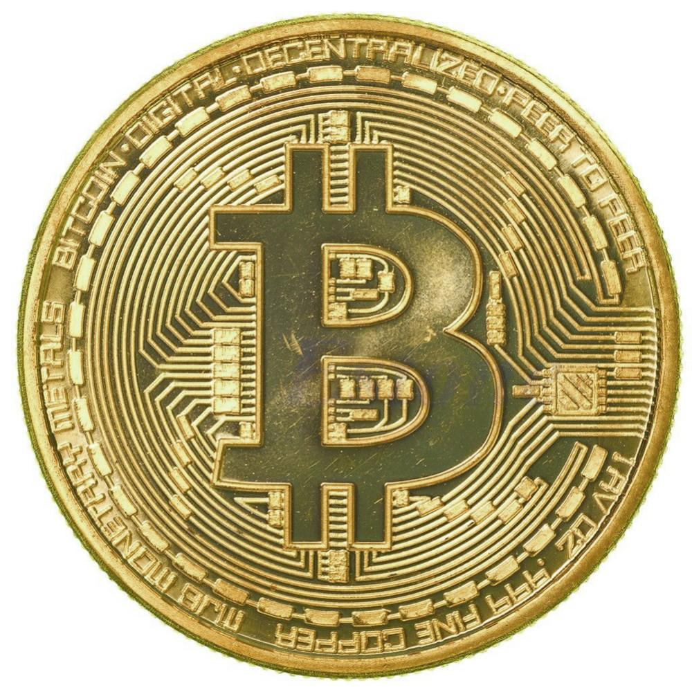 Bitcoin moneda fizică placată cu aur