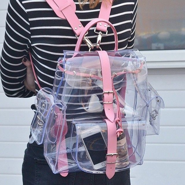 Rucsac transparent roz pentru fete