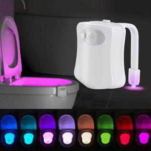 Lampă led multicoloră cu senzor de mișcare pentru toaletă WC